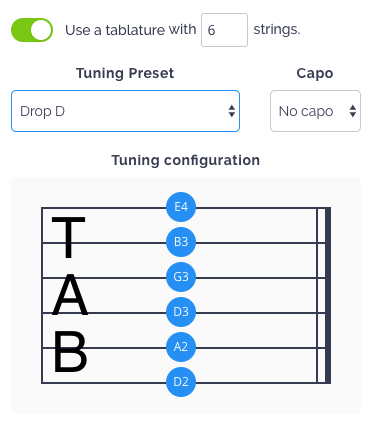 TABs and tuning configuration