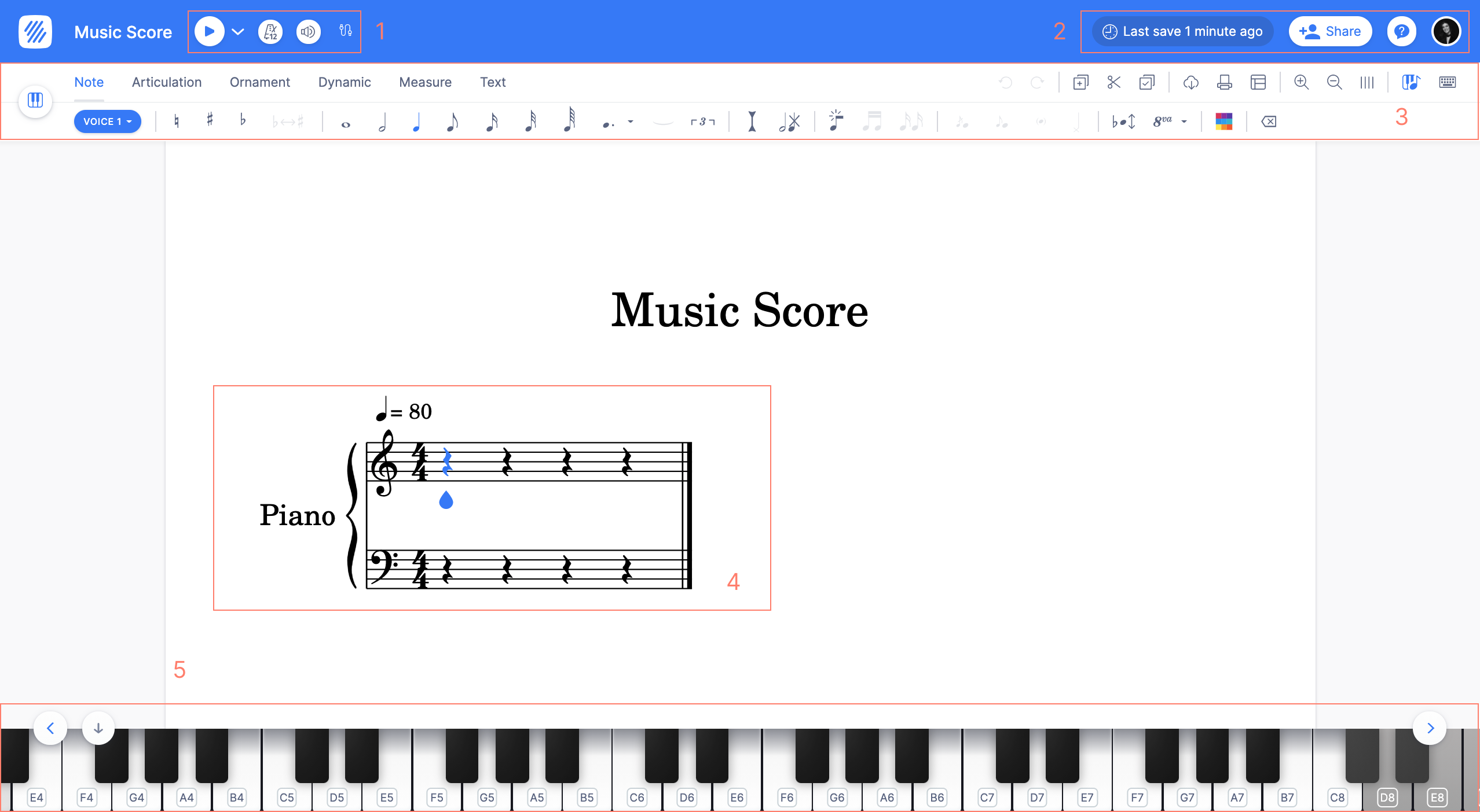 Flat Web App: Web-based music notation editor