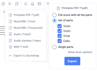 Print and export your scores