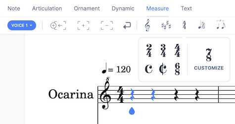 Change time signature in the Measure toolbar