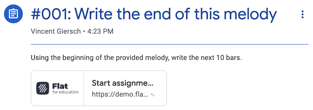 Music composition assignment on Google Classroom