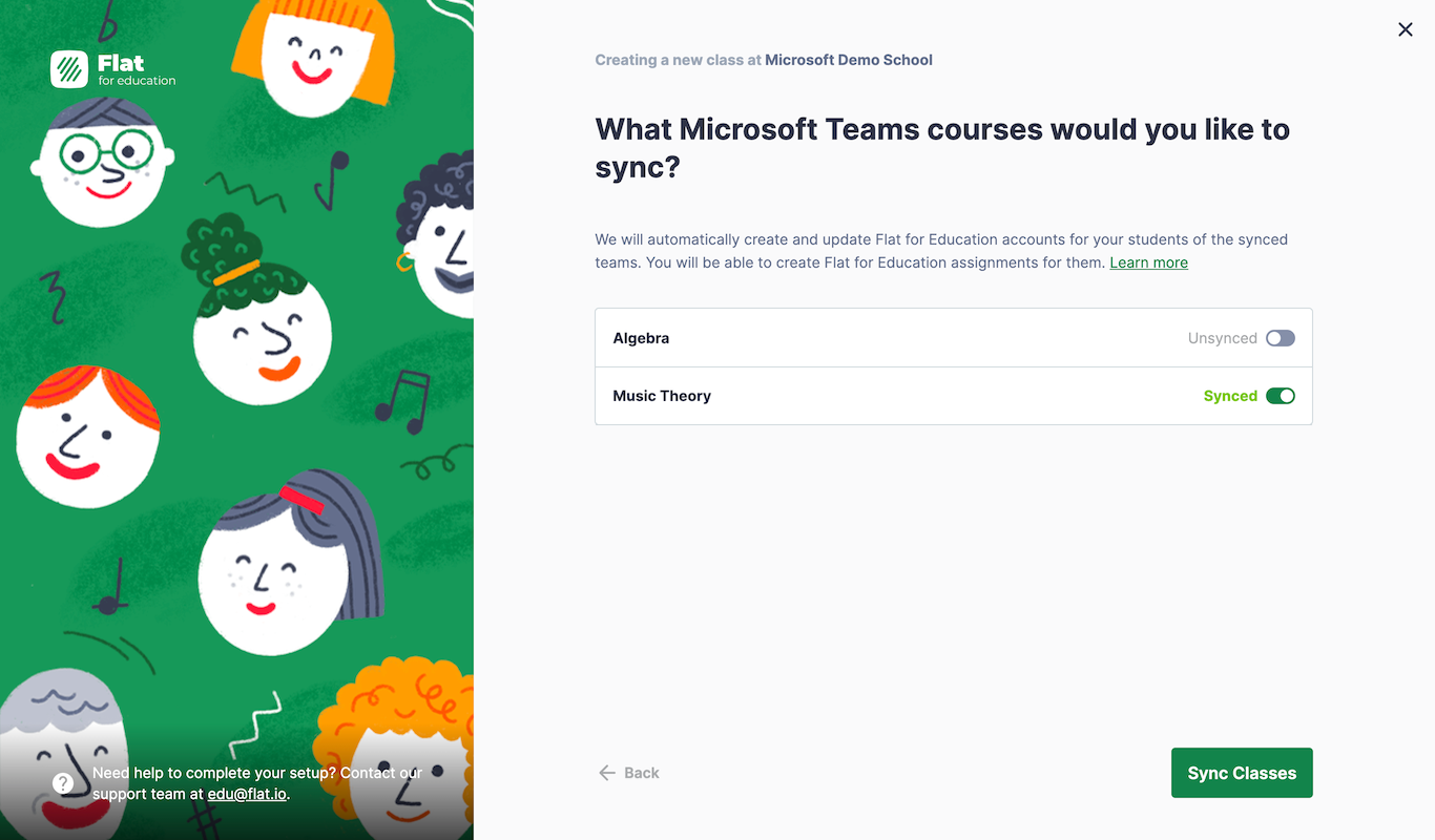 Select classes to sync on from Microsoft Teams