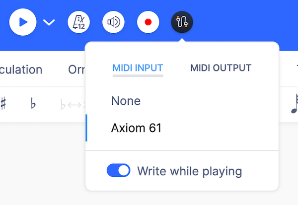 MIDI selection menu